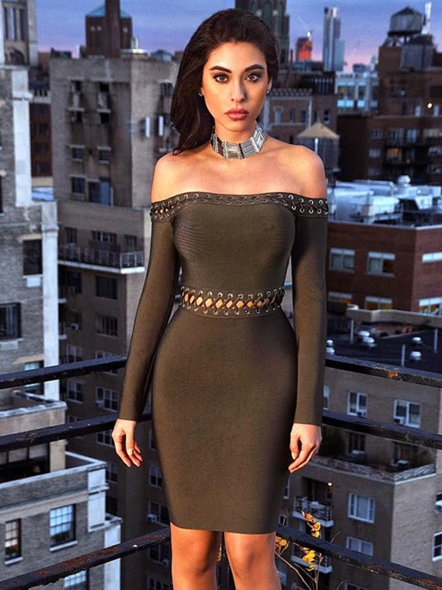 51c7de586a6 Robyn Lace Up Lattice Detail Off Shoulder Long Sleeve Bandage Dress Olive  Green Dress Bodycon,