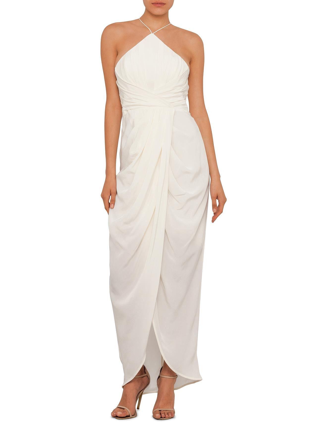 White dress david jones - Silk Tuck Long Dress David Jones