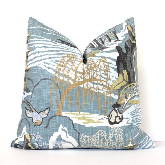 Light Blue Toile Designer Pillow Cover