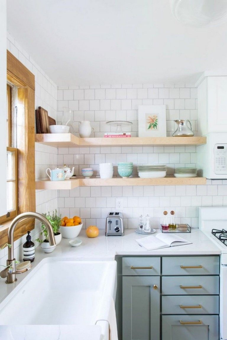 65 Good Small Kitchen Remodel And Open Shelves Ideas Kitchens Kitchenremodel Kitchenideas Green Kitchen Cabinets Kitchen Design Small Kitchen Remodel