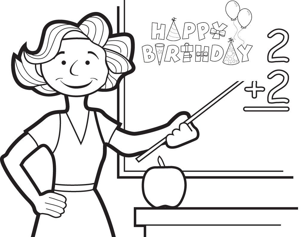Birthday Coloring Pages for Teacher