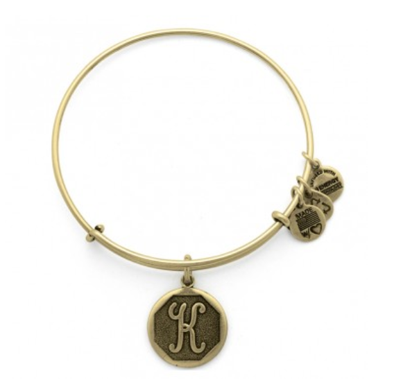 Alex And Ani K Initial Bangle Script Letter Rafaelian Gold