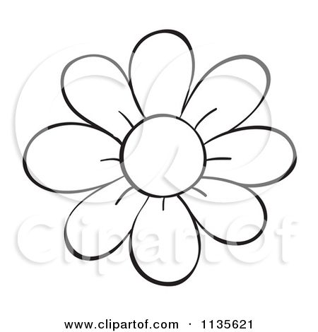 Cartoon Of A Black And White Flower Royalty Free Vector Clipart