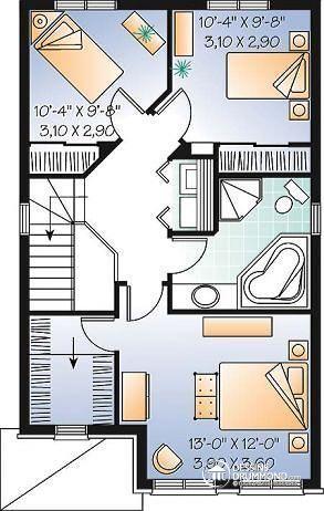 Détail du plan de Maison unifamiliale W2777 Chez moi Pinterest
