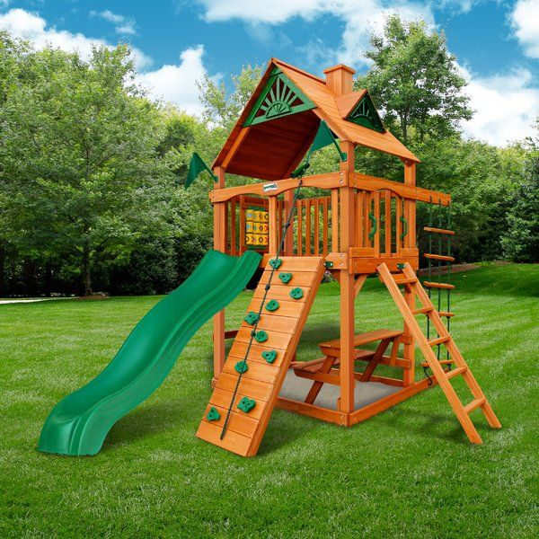 Chateau Tower Swing Set With Wood Roof