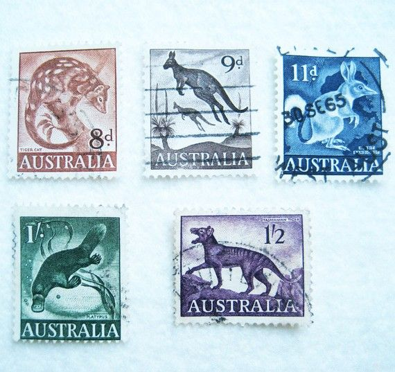 5 vintage Australian marsupial stamps by paper2paste on Etsy, 4.00USD