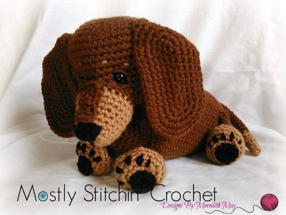 Amigurumi Wiener Dog Pattern : Dash the dachshund pup crochet pattern pdf dachshunds pup and pdf
