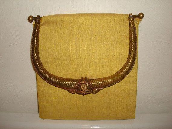 Taj of India CLOTH PURSE w/ Nice Brass by PastPossessionsOnly