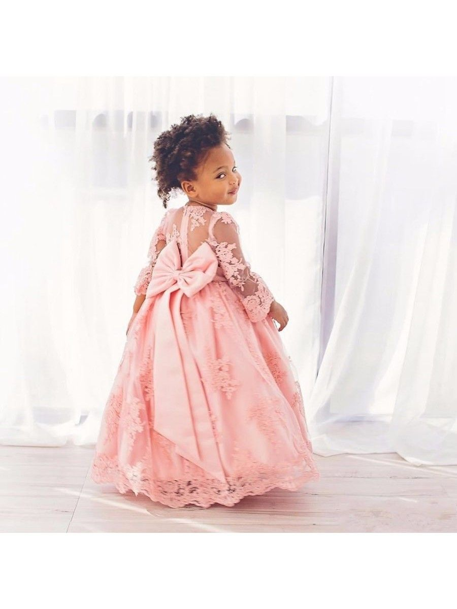 Long Sleeves Pink Lace Floor-Length Princess Ball Gown Flower Girl ...