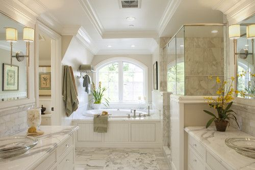 Beautiful Bathrooms Houzz the wall color isbenjamin moore and is called edgecomb gray