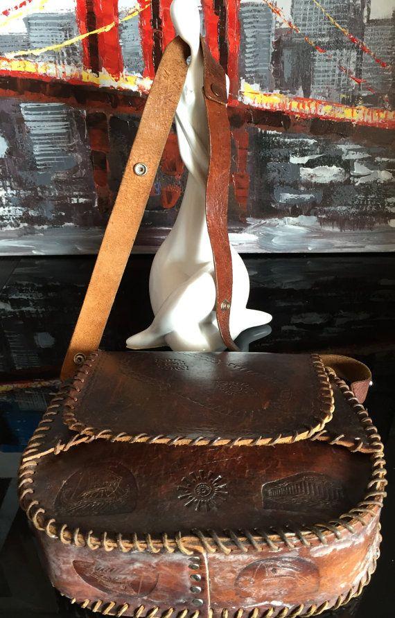 Vintage Boho Tooled Original Leather Bag by PreciousIdentity