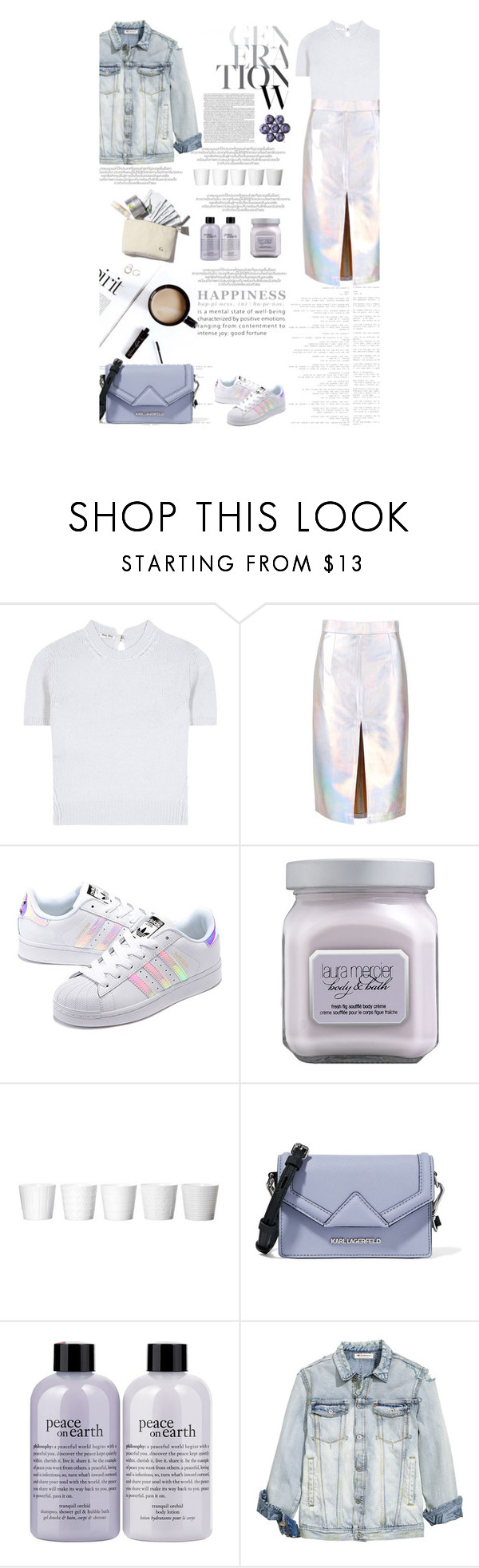 """Untitled #2588"" by amimcqueen ❤ liked on Polyvore featuring Miu Miu, adidas Originals, Laura Mercier, Karl Lagerfeld and philosophy"