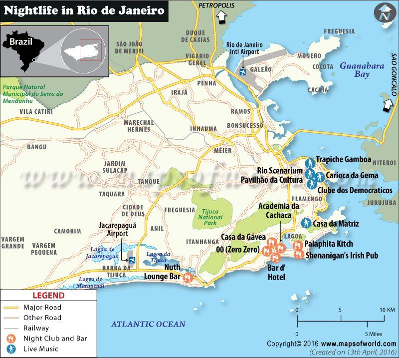 Map of Rio de Janeiro Night clubs and Bars | Rio de Janerio ...