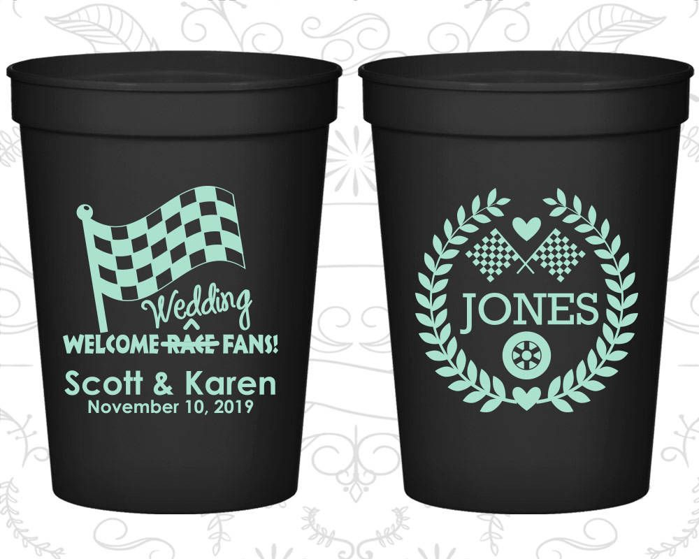 Wedding after party decorations january 2019 Welcome Wedding Race Fans Wedding Cups Racing Flags Checkered