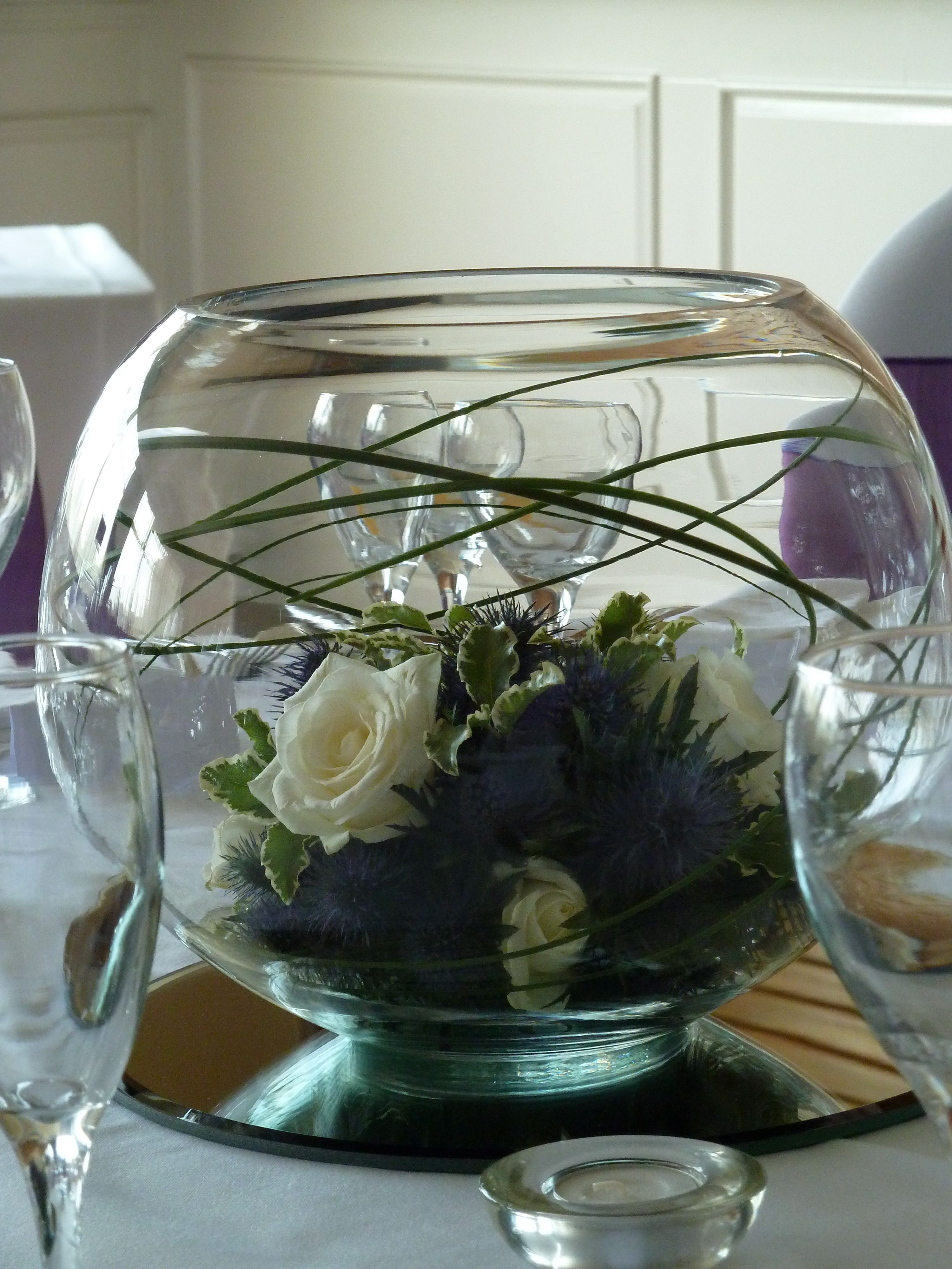 Rose And Thistle Arrangement In Goldfish Bowl Centrepiece