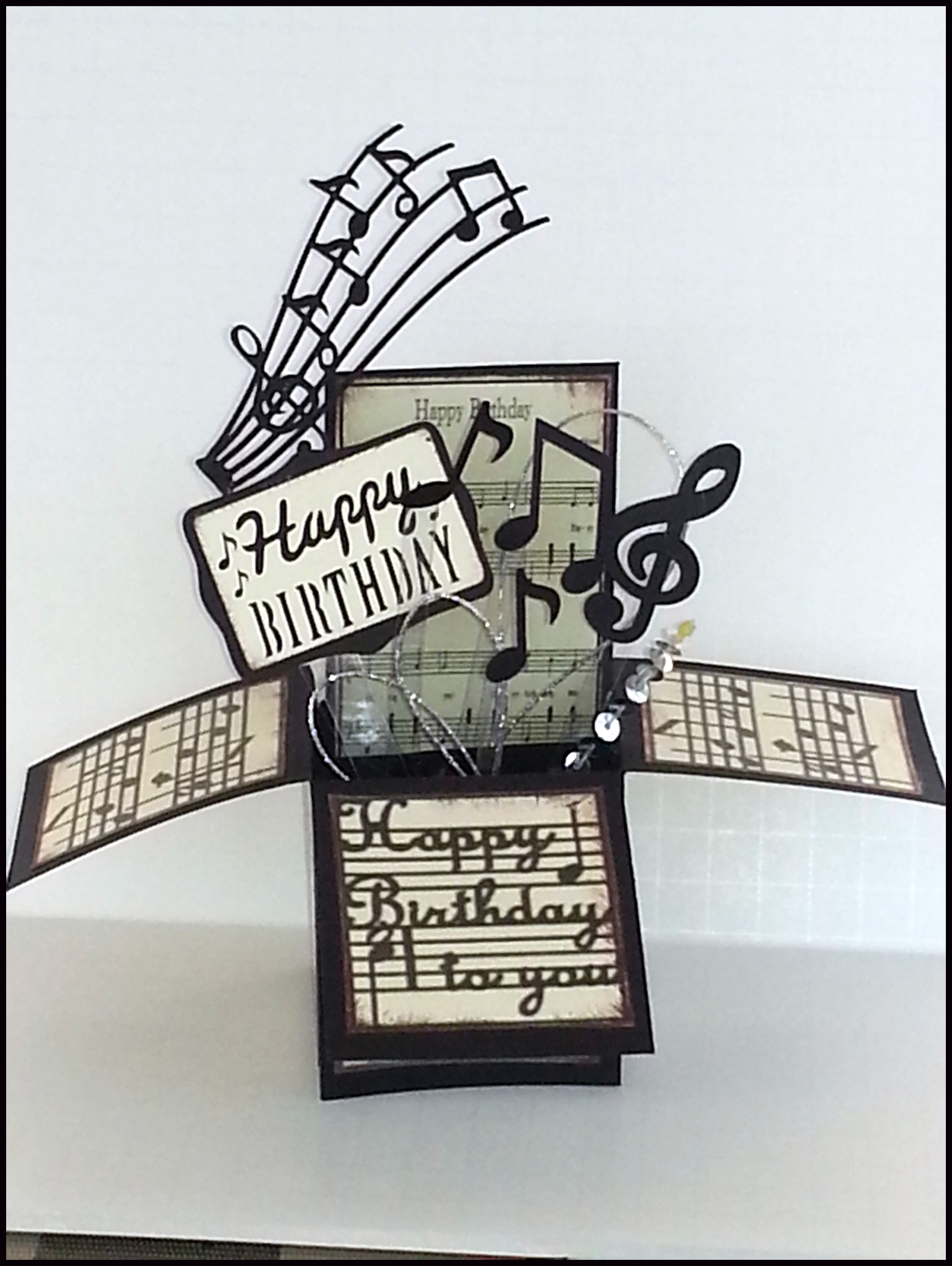 Cricut Happy Birthday Box Card Or Pop Up Box Card For Music Friends Made With Cricut Pop Up Box Cards Box Cards Tutorial Exploding Box Card