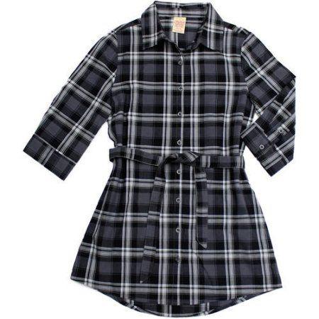 Faded Glory Girls' Plaid Tunic, Size: 10/12, Gray