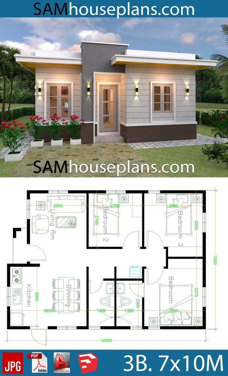 House Plans 7x10 With 3 Bedrooms With Terrace Roof Sam House Plans House Construction Plan House Plan Gallery Small House Design Plans
