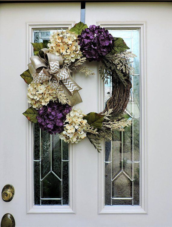 Spring Purple And Cream Hydrangea Front Door Wreath Spring Wreath