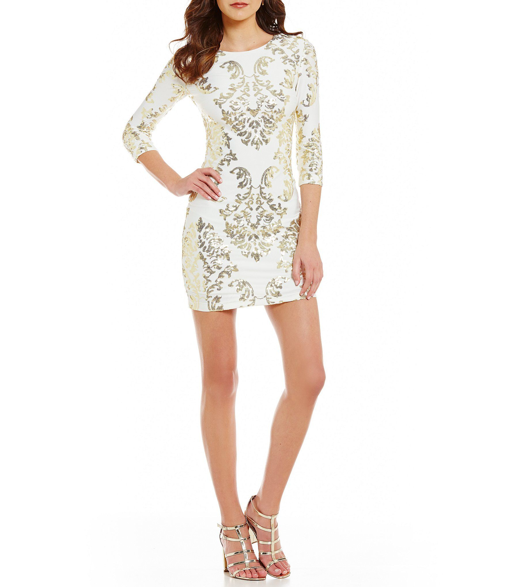 Shop for B. Darlin Sequin Scroll Pattern Lace Up Back Sheath