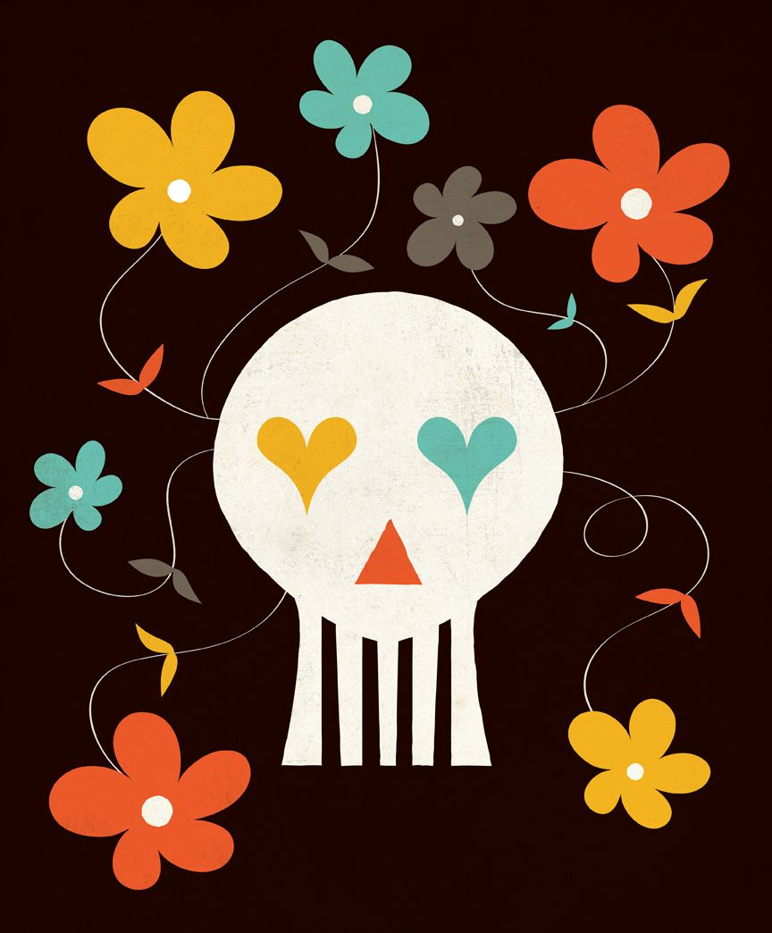 "Andrew Bannecker ""Love You to Death"" // www.ba-reps.com #skull #flowers #hearts #love #death #illustration"