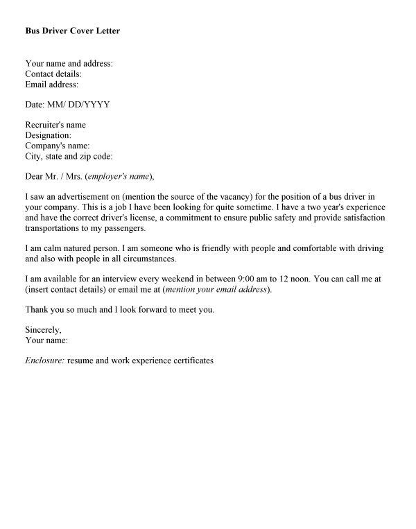Shuttle Bus Driver Cover Letter Job And Resume Template