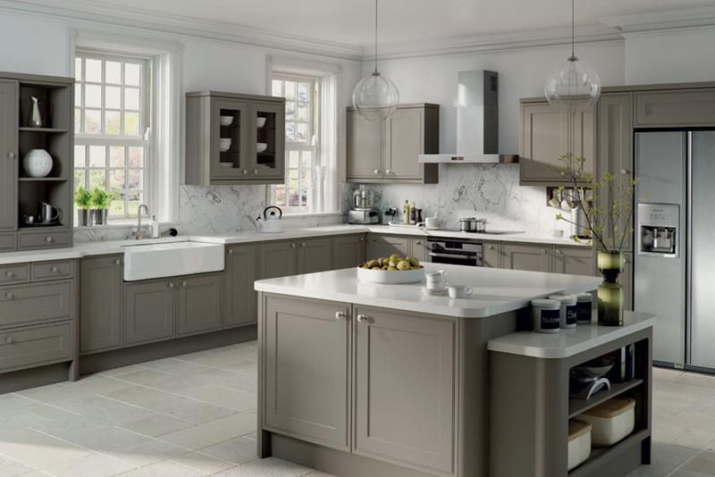Awesome Gray Kitchen Cabinets With White Polishe Granite Countertop And  White Marble Backsplash