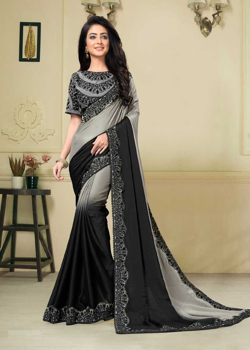 9d3b07c387 Step out in a style this winter wedding season with this majestic grey and black  color