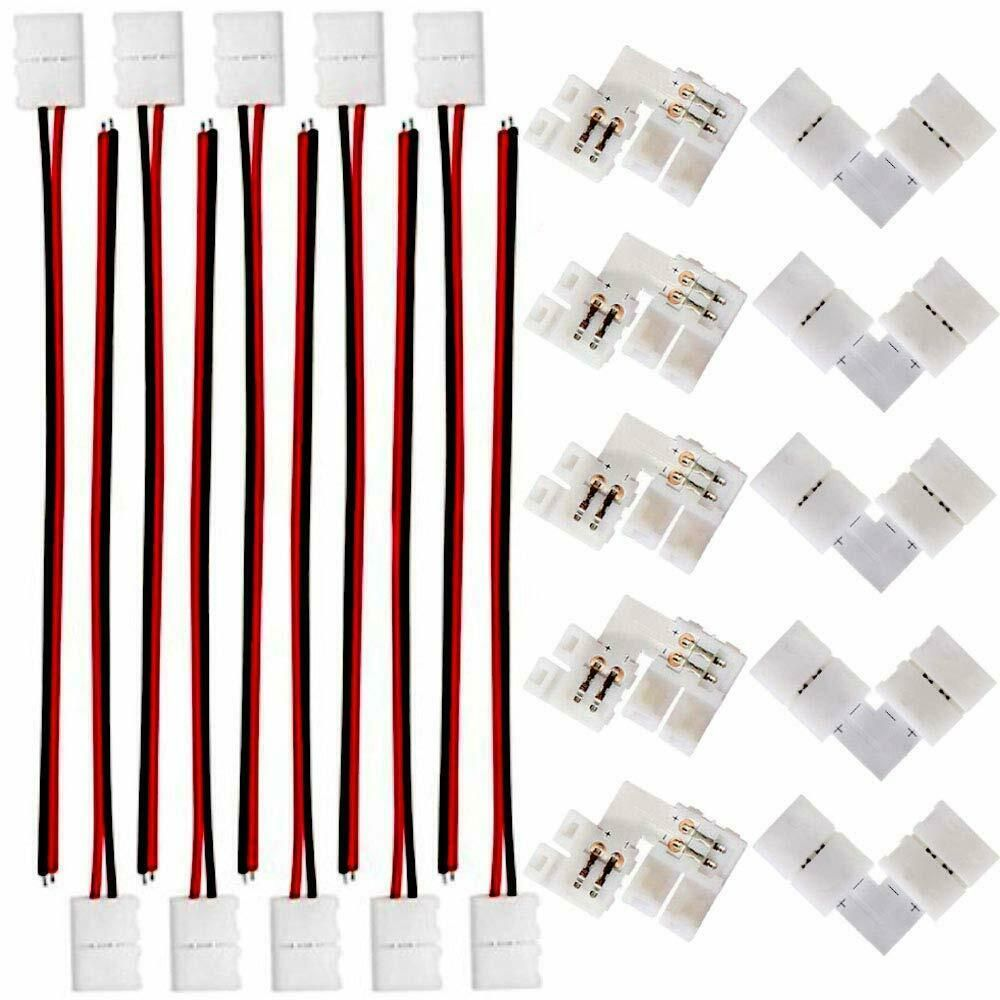 FSJEE 8mm 3528/2835 LED Strip Light Connectors Kits with