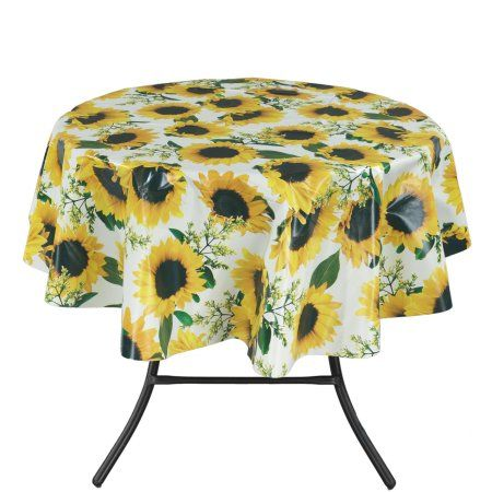 Ottomanson Vinyl Tablecloth Sunflower Design Indoor Outdoor Non Woven Backing Tablecloth 55 Round Yellow Walmart Com Table Cloth Sunflower Design Outdoor Tablecloth