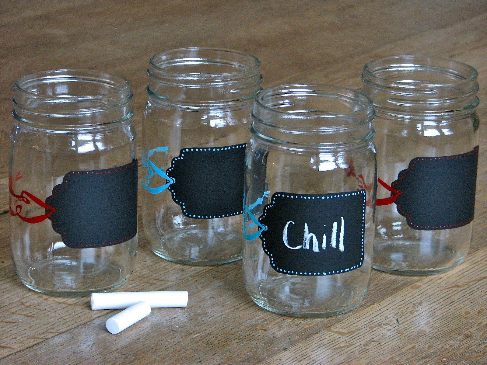 Hand Painted Chalkboard Drink Jars Dishwasher Safe Too Each Jar Comes With A Black Lid Drinking Jars Mason Jar Wine Glass Jar