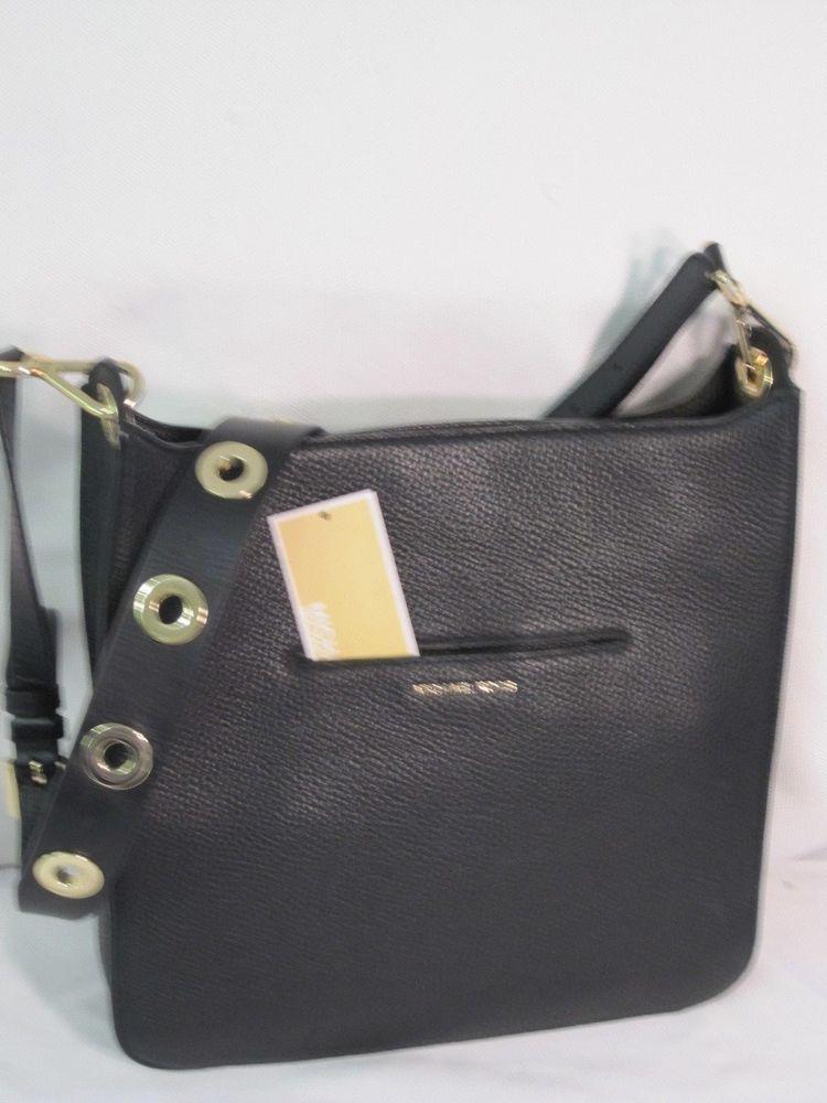 4473a857e0d4 Michael Kors Black Pebbled Leather Sullivan Messenger Shoulder Bag Purse   348  MichaelKors  Crossbody