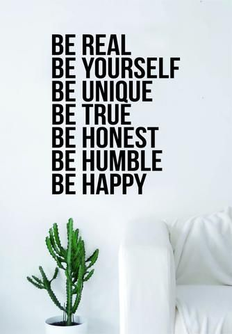 (1) Be Real Be Yourself Decal Quote Sticker Wall Vinyl Art Decor Home Tren – boop decals