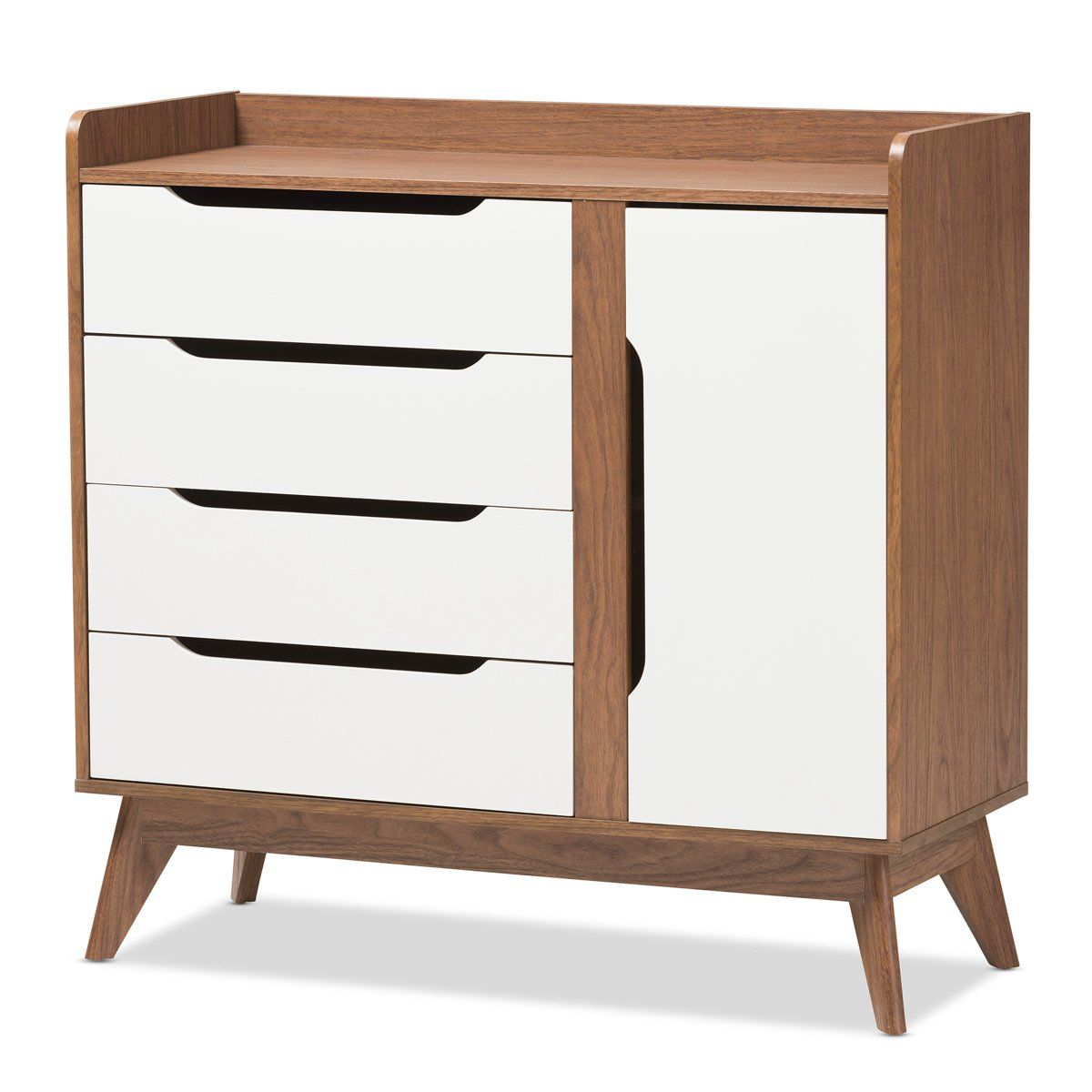 Baxton Studio Brighton White U0026 Walnut Wood Storage Shoe Cabinet