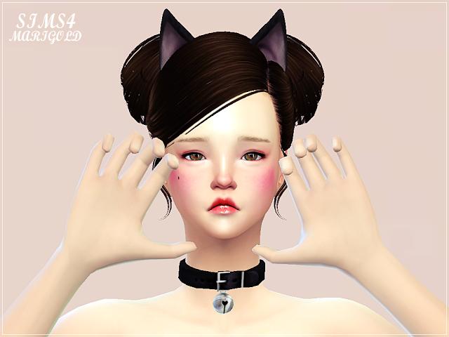 SIMS4 marigold: cat bell choker_고양이 방울 초커_여성 목걸이