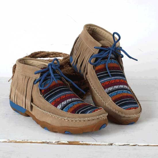 5341d86ac3c6 Twisted X Serape Moc With Fringe- Twisted X serape moccasin with fringed  collar and blue accents on laces and outsole.
