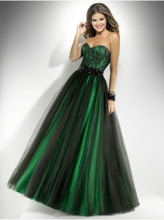 Ball Gown Sweetheart Sashes Tulle Long Green Prom Dress Clothes I