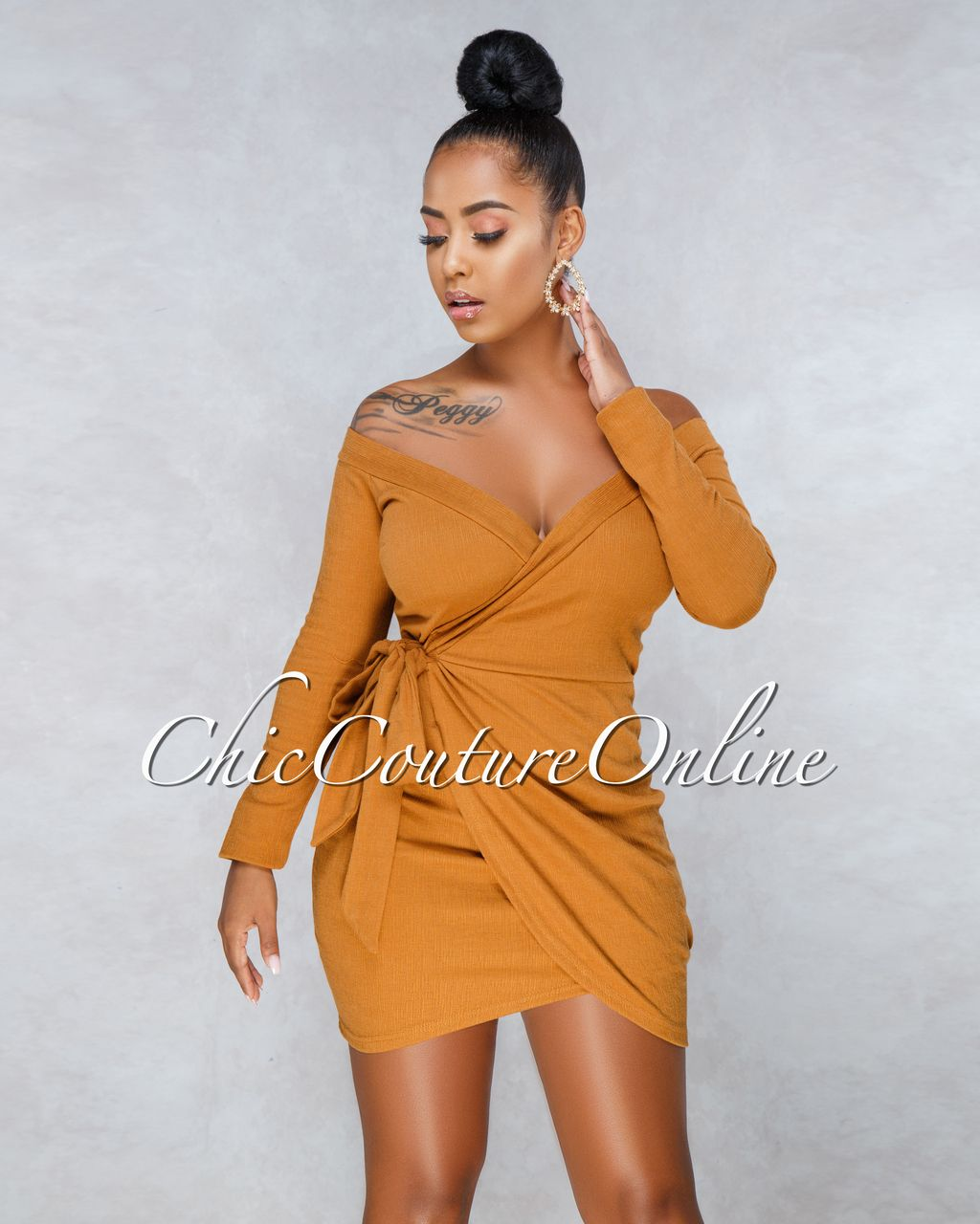 337d57d56b484 Vanesa Deep Mustard Faux Wrap Dress in 2019 | Clothing ~ Chic ...