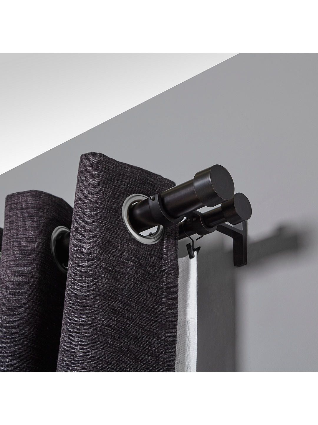 Buyumbra Adjustable Double Curtain Pole Kit Black Dia 19 32mm