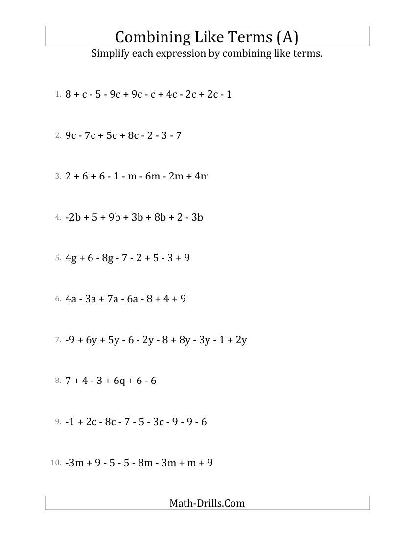 Simplifying Linear Expressions with 6 to 10 Terms (A) Algebra Worksheet    Algebraic expressions [ 1100 x 850 Pixel ]