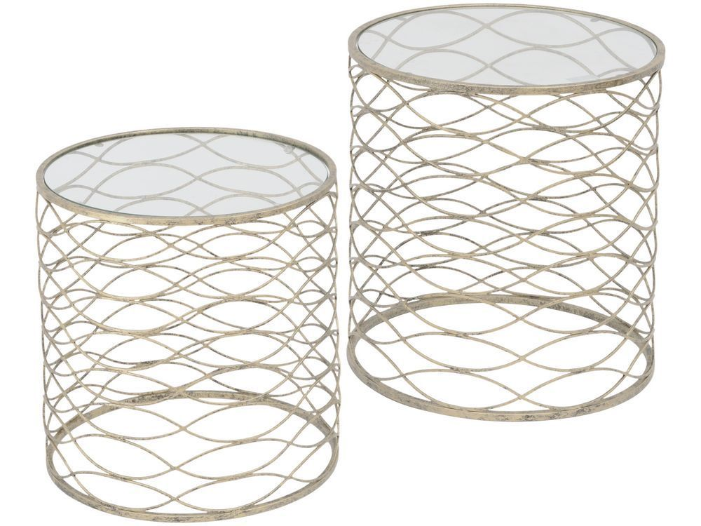 Gatsby antique silver nesting side tables round tables luxury the metal ribbon style round tables are part of our range of luxury furniture ideal for adding style to your home if you like the look of these silver greentooth Images