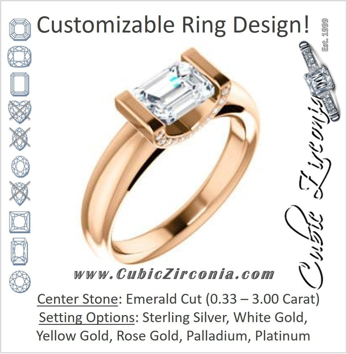 Cubic Zirconia Engagement Ring- The Tory (Customizable Cathedral-style Bar-set Emerald Cut Ring with Prong Accents)