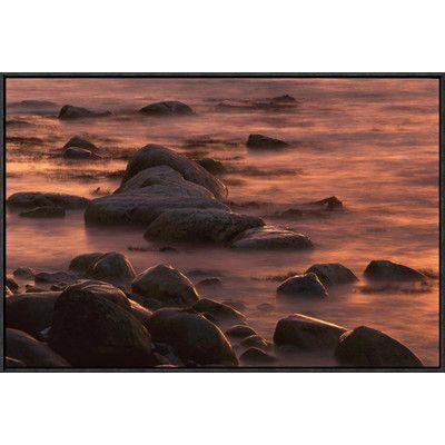 Global Gallery Morning Sun Reflecting in Rocky Water, Jasmund National Park, Ruegen, Germany by Christian Ziegler Framed Photographic Print on Canv...