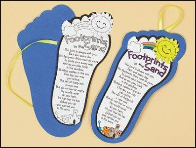 Youth Color Your Own Footprints Poem Sunday School Arts Craft