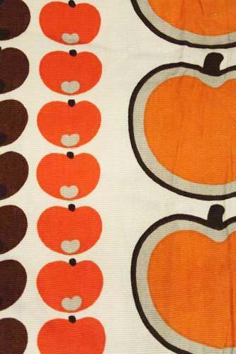 Vintage retro jaren 60 70 appel stof gordijn oranje bruin for Interieur 70 jaren