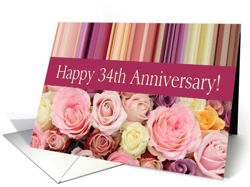 34th wedding anniversary card   pastel roses and stripes