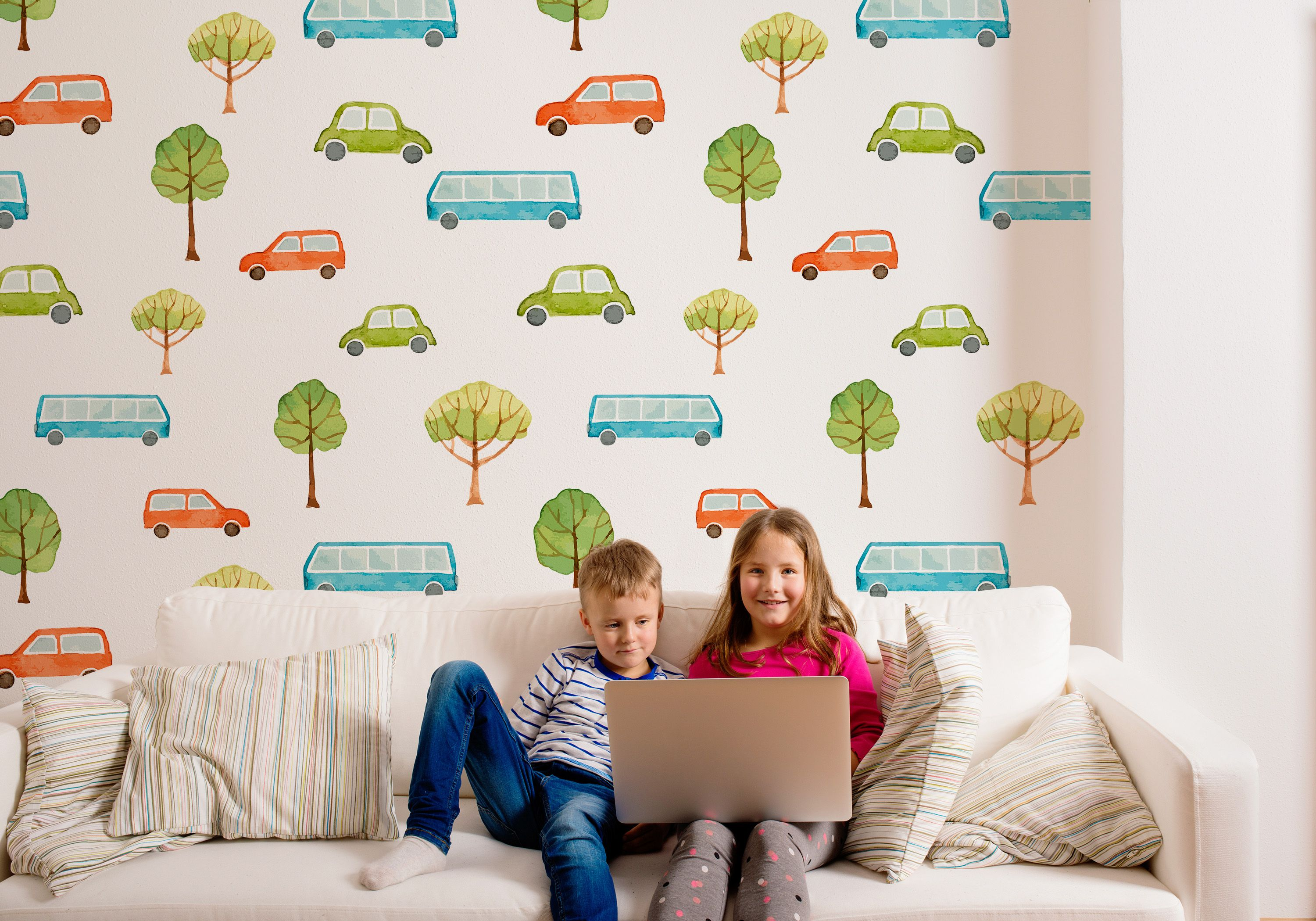 Watercolor Cars Wallpaper For Childrens Room And Creative Kids