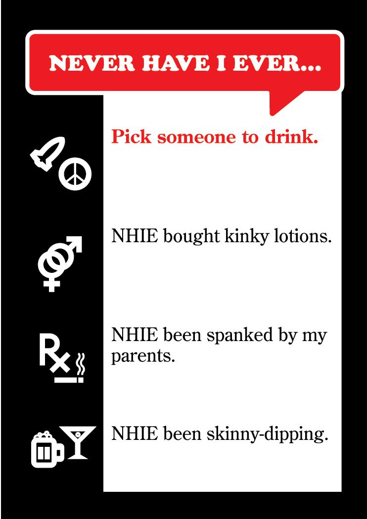 Never Have I Ever, The Famous Drinking Game Sample Card