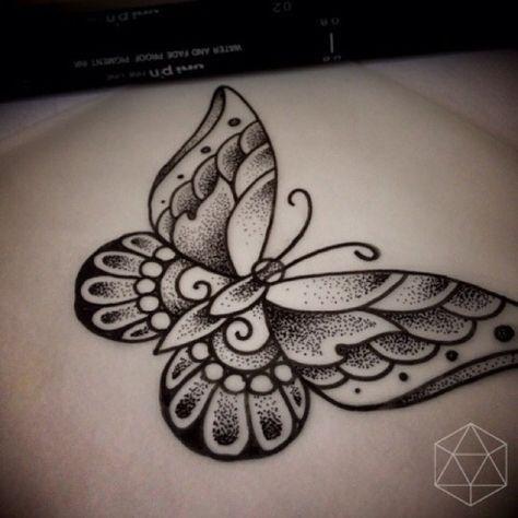 dotwork butterfly tattoo - Google Search - Tätowierung Frau