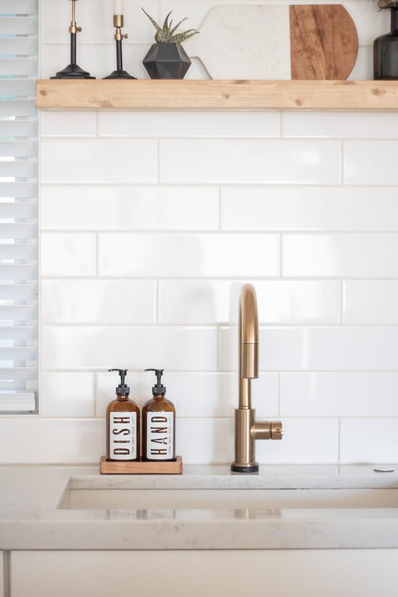 Amber Glass Classic White Hand Soap Dish Soap Dispenser Etsy Kitchen Soap Dispenser Kitchen Sink Decor Kitchen Soap